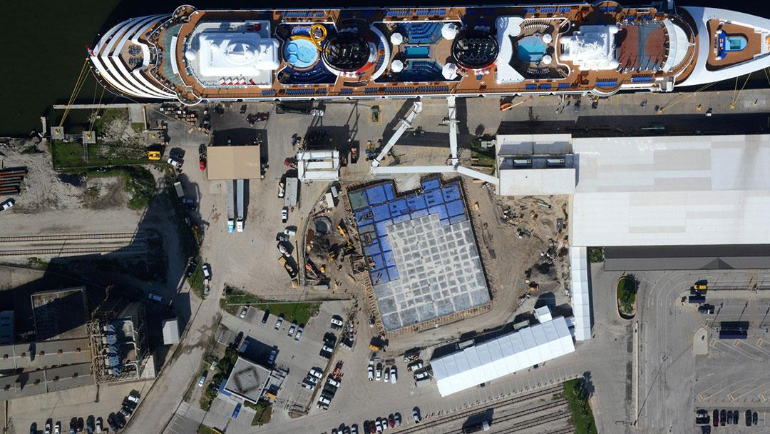port of galveston cruise terminal aerial view