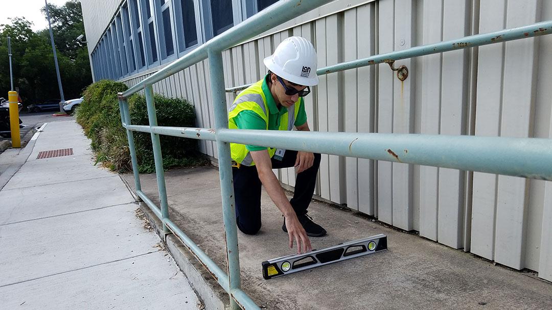 txdot ada assessment wheelchair ramp width and leveling
