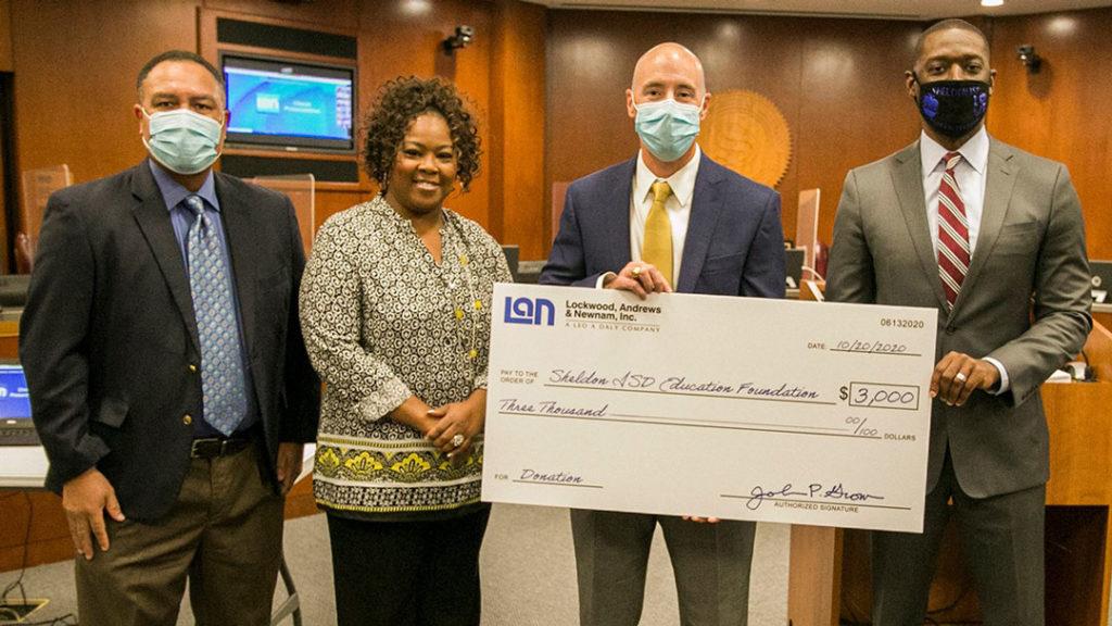 LAN Sheldon ISD Education Foundation donation